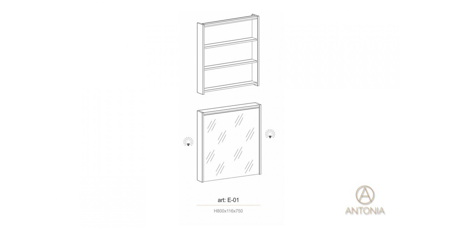 Шкафчик с зеркальной дверцей - E-01